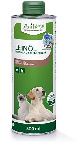 AniForte Leinöl für Hunde und Katzen 500ml - Kaltgepresst, Nativ, Reich an Omega 3 und Omega 6 Fettsäuren, Lein Öl Barf Ergänzung, Hochwertiges Leinsamenöl, Recyclebare Verpackung ohne BPA
