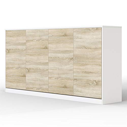SMARTBett Basic 90x200 Horizontal Weiss/Eiche SonomaSchrankbett | ausklappbares Wandbett, ideal geeignet als Wandklappbett fürs Gästezimmer, Büro, Wohnzimmer, Schlafzimmer