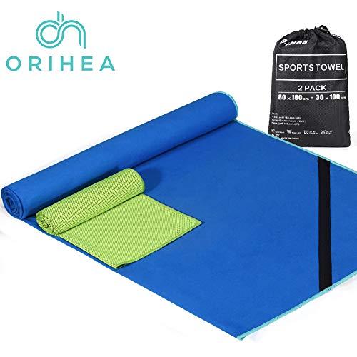 OriHea Sporthandtuch, Schnelltrocknende Handtücher 2er-Set, 180x80cm großes Mikrofaser-Badetuch und 100x30cm Kühltuch, ultrakompakt und leicht, geeignet für Camping, Schwimmen, Hot Yoga, Reisen