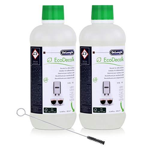 2x EcoDecalk von Delonghi für Kaffeevollautomaten Entkalker und eine Delonghi Reinigungsbürste