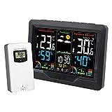 XTZJ Estación meteorológica Termómetro interior inalámbrico para exteriores, Pantalla de color Estación de pronóstico digital con alerta de temperatura, nivel de confort, barómetro, despertador, fácil