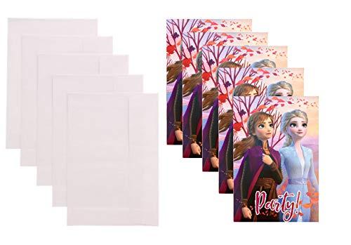 TrendyMaker Disney Frozen 2 - Eiskönigin 10-teiliges Einladungskarten Set, 5 Karten und 5 Umschläge - passend für Party, Kindergeburtstag,.. Set 2