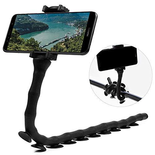 CLM-Tech Halterung für Handys, 360° Einstellbarer Smartphone-Halter universal für Oberflächen wie Wände und Tische, Fahrräder Autos und mehr, schwarz