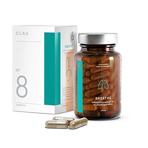 CLAV N°8 BREATHE | Eisen Komplex mit Isländisch Moos + Echinacea + Süßholzwurzel + Anis + Vitamin C + Kupfer | Atemwege Befreien + Reinigen | 60 Kapseln | Vegan