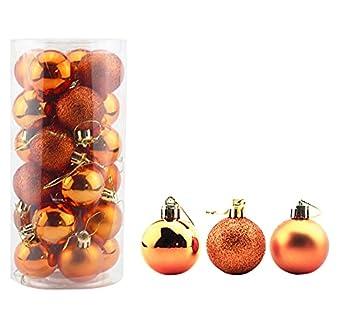 Bestjybt 24pcs 1.57  Small Christmas Ball Ornaments Shatterproof Christmas Decorations Tree Balls for Holiday Wedding Party Decoration Tree Ornaments Hooks Included  Orange 4cm/1.57