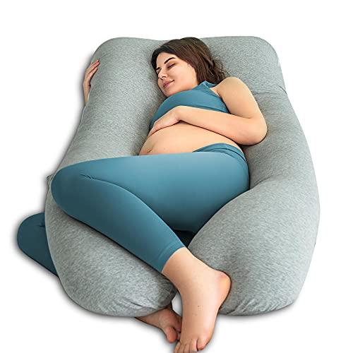 QUEEN ROSE Oreiller de grossesse, oreiller de corps avec la couverture remplaçable et lavable (150_x_80_cm, Jersey, Gris)