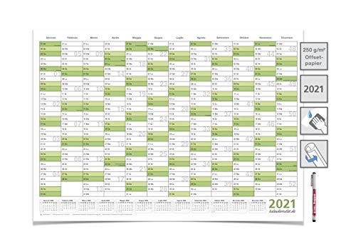 CALENDARIO DA MURO 2021 A2 59,4 x 42,0 cm, CARTELLONISTICA CALENDARIO VERDE UMIDO LAVABILE, ARROTOLATA CONSEGNATA con 1 perno EDDING