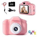 Cámara para Niños con Tarjeta 1GB TF, Mini Cámara Digitale Selfie para Niños,Video cámara Infantil con Pantalla de 2 Pulgadas, HD 1200 MP/1080P Doble Objetivo, a Prueba de Golpes, Rosa