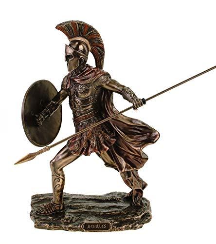 Veronese Figur des Achilles mit Schwert und Schild 19 cm bronziert handbemalt Troja Griechenland Heerführer