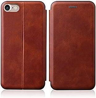 جراب قلاب لهاتف Apple iPhone SE 2020 / iphone 7 8 من الجلد المغناطيسي مع فتحة بطاقة وغطاء TPU الداخلي - بني