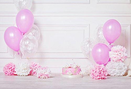 HUAYI 220 x 150 cm Happy Birthday Hintergrund Rosa und Weiß Luftballons Papier Blumen Geburtstag Party Portraits Dekoration Kuchen Smash Requisiten Weiß Holz Wand Foto Hintergrund Baby Shower Xt-668