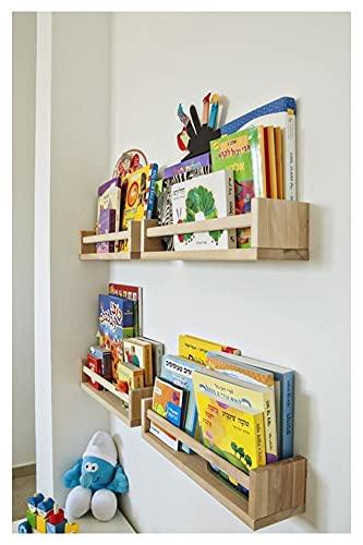 XXFFD 4 PCS Rack de Libros para niños  Biblioteca Infantil Habitación para niños Beige Rack de Pared Estantería de Madera