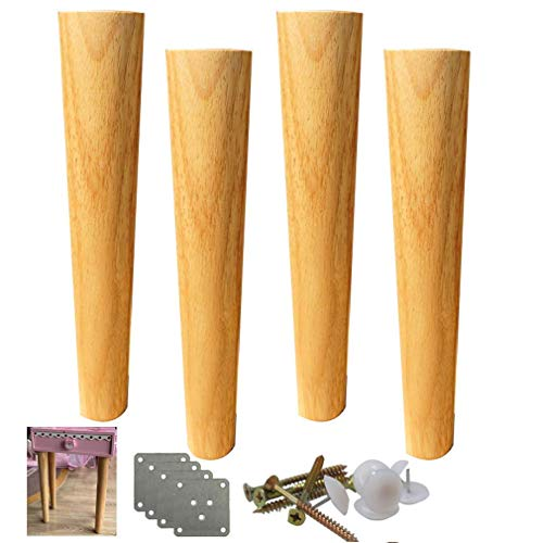Pies de muebles de madera maciza de 4 piezas, pies de sofá cónicos rectos, pies de muebles de madera, patas de escritorio, pies de repuesto, con accesorios de montaje, altura de 6 a 70 cm opcional (12