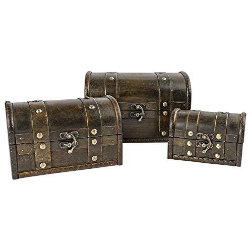 Schatztruhen | Lasiertes Holz | Mit Metall-Klappverschluss | 3 Stück | 3 verschiedene Größen