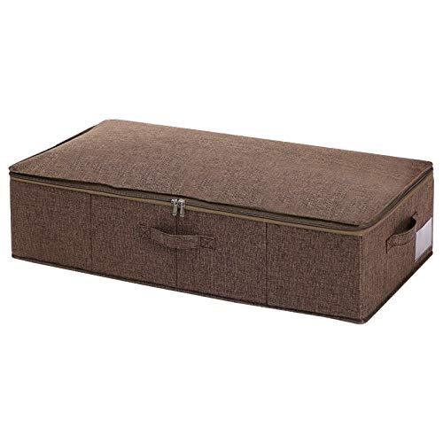 Caja de almacenamiento debajo de la cama a prueba de polvo y transpirable plegable debajo de la cama, organizador de zapatos contenedores con tapa para mantas edredones edredones gris 95x48x17cm