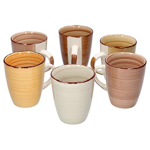 MamboCat 6-delig Koffiemok set Sandy voor 6 personen | koffiemok XL 300 ml | Pott | edel porselein servies | 6 kleuren I vaatwasmachinebestendig