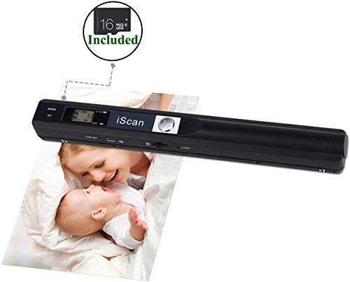 [Handscanner 900DPI ] Auflösung s/w und Farbe Dokumentenscanner/Portable Scanner/Wireless Tragbarer A4 Scanner mit Karte JPG und PDF Format -16G Micro SD- Schwarz