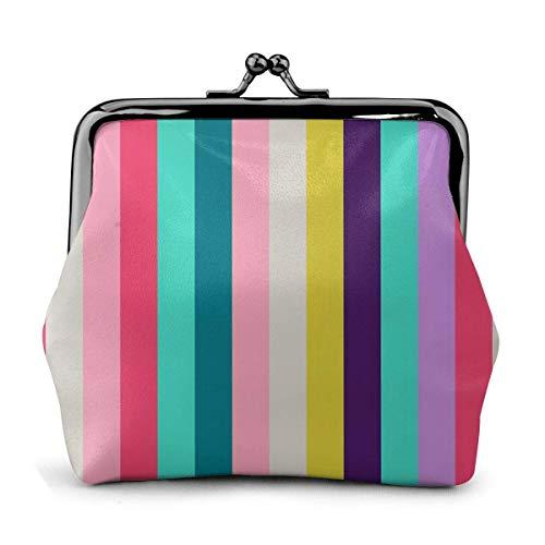 AEMAPE Color Stripe Classic Vintage Pouch Girl Kiss-Lock Cambio Monedero Carteras Hebilla Monederos de Cuero Llavero Mujer Impreso