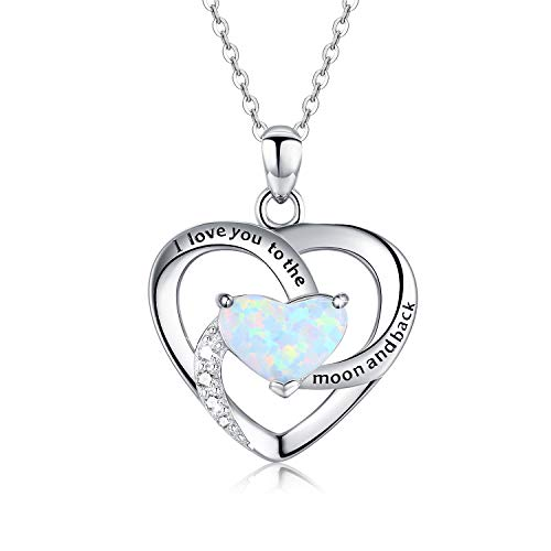 Kette Herz Damen 925 Sterling Silber Herz Anhänger mit Opal Kette für Frauen Mutter Freundin Mädchen