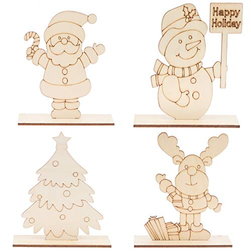 Set of 4 Christmas Table Decorations Signs - Santa/ Snowman/ Reindeer/ Christmas Tree/- Xmas Centerpiece for Dinner Party Coffee Desk Holiday Decor Gifts Ornaments, DIY Wooden Table Display(Assembly Needed)