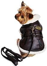 Doggie Design Classic Vintage Faux Brown Leather Bomber Jacket, X-Large