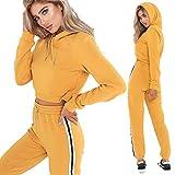 Yassiglia Conjunto deportivo de mujer con capucha de manga larga, jersey, cierre elástico, pantalones decorativos, a rayas, chándal deportivo, amarillo, S