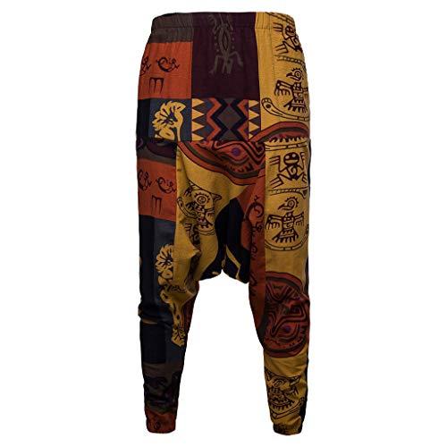 Rmoon Pantaloni Harem Pantaloni Uomo Cotton Linen Festival Baggy Boho Zingara retrò-Pantaloni Great Comfort Yoga Hippy per Uomo Pantaloni Harem di Stile Etnico (Rosso, XL)