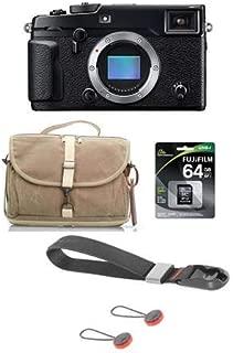 Fujifilm X-Pro2 Mirrorless Camera Body, Black - Bundle F-803 Camera Satchel Bag, by Domke, 64GB Class 10 UHS-1 SDXC Memory Card, Peak Design Camera Cuff Wrist Strap, Charcoal