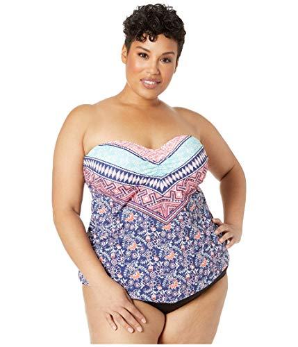 24th & Ocean Women's Plus Size Retro Bandeau Handkerchief Tankini Swimsuit Top, Purple//La Boheme, 16W