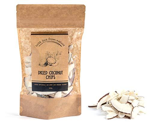 Getrocknete Kokosnusschips, 100g. Hochwertige, Ungesüßte Früchte Aus Afrika. Dried Coconut Chips, 100g. Premium, Unsweetened Fruits From Africa.