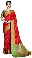 SORU FASHION Women's Banarasi Silk Saree With Un-stitched Blouse