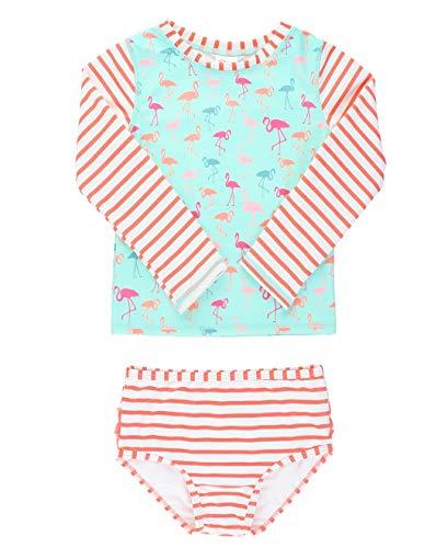 RuffleButts Girls Rash Guard 2-Piece Swimsuit Set – Long Sleeve Bikini with UPF 50+ Sun Protection