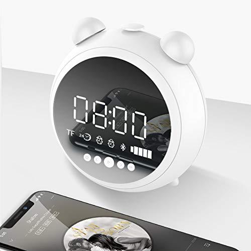 LLLYZZ HD wekker met nachtlampje radio FM luidspreker Bluetooth Wireless ondersteuning AUX Tf Player horloge kinderen LED Digital Wit