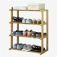 家具装飾靴オーガナイザー/靴ラックファッション無垢材靴キャビネットシンプルな多層収納ラックEタイプ4層無垢材カラーホワイト(カラー:ウッドカラー)