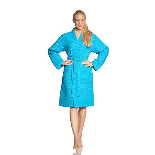 Vossen Damen & Herren Bademantel Rom Turquoise, XL