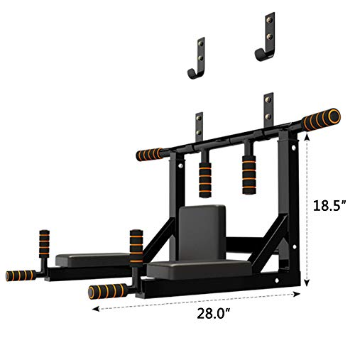 Product Image 7: Slsy Multifunctional Wall Mounte Pull Up Bar and Dip Station, Wall Mounted Chin Up Bar for Home Gym, Power Tower for Home Gym, Supports to 600 Lbs