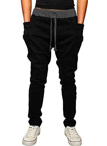 HEMOON Mens Jogging Pants Tracksuit Bottoms Training Running Trousers Black S