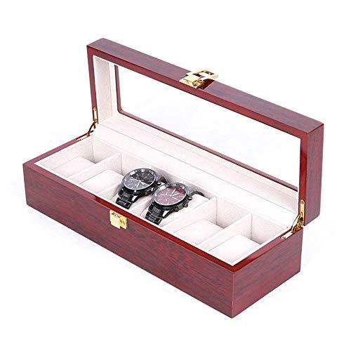 Cajas de Reloj 6 Ranuras de Gama Alta del Reloj Rabia Caja de presentación Caja de luz welry Caja de exhibición de Aerosol de Pintura de Madera del Reloj r DDLS (Color : C1, Size : 314x123x80mm)