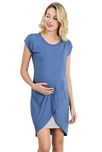 Product Image of the Hello Miz Color Block Asymmetrical Breastfeeing Maternity Nursing Dress...