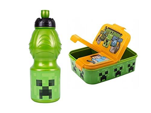 GOLDKIDS Minecraft oranje broodtrommel 18,5 x 13,5 x 5,5 cm kinderen lunchbox lunchbox broodtrommel voor ontbijt box…