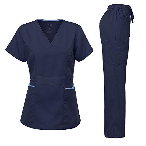 Medical Uniform Women's Scrubs Set Stretch Contrast Pocket Navy S