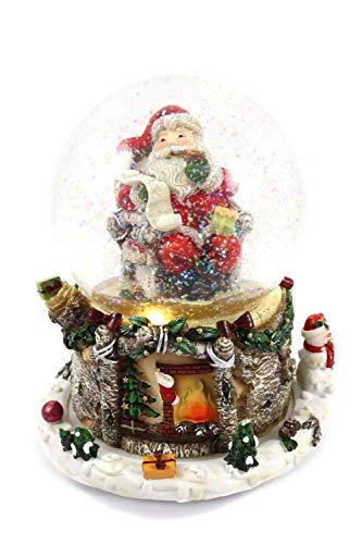 Creation Gross große Schneekugel mit Spieluhr & warmweißem Licht, Weihnachtsmann, rotierender Sockel, Glitzerschnee, H.: 16,5cm Ø100mm