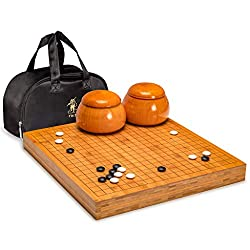 Go Game Set with Chinese Reversible Bamboo Go Board