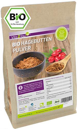 Hagebuttenpulver Bio 500g - Rosa Canina - 100% Ökologischer EU Anbau - Rohkost-Qualität - Vitamin C - ganze Hagebutten gemahlen - kontrollierte Premium Qualität