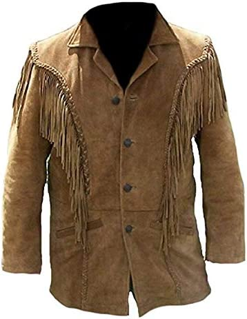 Men Suede Leather Western Jacket with Fringes, Cow boy Look