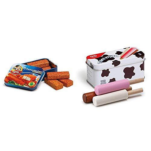 Fischstäbchen in Blechdose & Erzi 14015 Kaufladenzubehör EIS Mini Milk IN DER DOSE