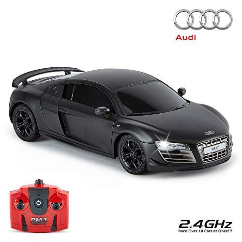 CMJ RC Cars ™ Audi R8 GT Coche de control remoto con licencia oficial Coche 1:24 Escala Luces de trabajo 2.4Ghz Negro mate