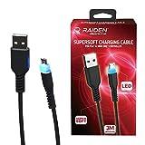 Subsonic Cable de recharge et de transfert de données micro USB avec technologie Supersoft anti noeuds et LED - manette Playstation 4 / PS4 Pro / PS4 Slim / Xbox One / Xbox One X - 3 mètres