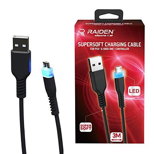 Cable micro USB, supersoft anti-nodo LED para mando PS4/PS4 Pro/PS4 Slim/Xbox One/Xbox...