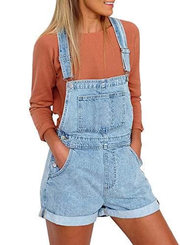 Roskiky Damen Schnallenriemen-Jeanslatzhose mit Bündchensaum-Taschen Hellblau Größe XL